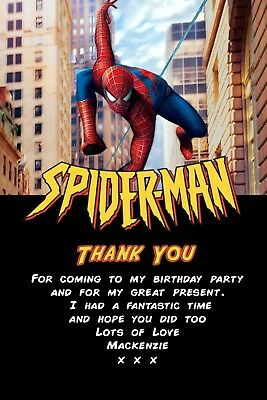 Personalised Spiderman Birthday Party Thank You Cards Inc Envelopes