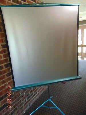 DA-LITE Silver Lite Portable Projection Screen 50 inch 50x50 vintage VG Cond