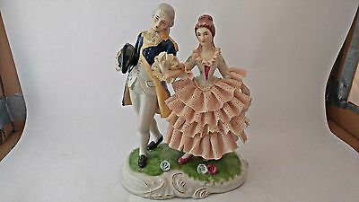 Large Unmarked High-Quality Lace Figurine Man Courting a Woman German / European