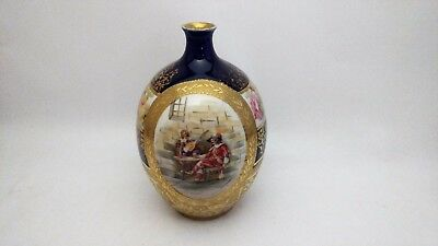 Royal Bayreuth DIXON Musketeers Gold Encrusted Cabbage Roses Cobalt Blue Vase