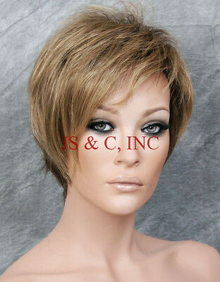 """Natalie"" Jon Renau Short Wig Dark Blonde Med Chestnut Brown roots 24bt18 JRNA"