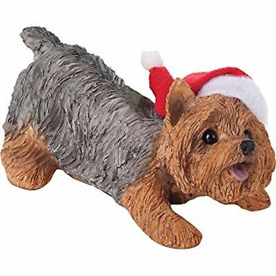 New Sandicast Yorkshire Terrier with Santa Hat Christmas Ornament