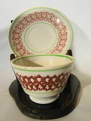 Antique Staffordshire Red & Green Stick Spatter Tea Bowl & Saucer 19th c