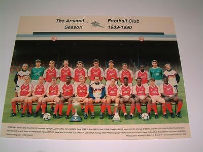 Arsenal Fc 1989-1990 Squad Original Press Or Club Issued Photograph