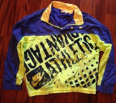 Vintage 80s 90s Nike Athletic Pullover Jacket Windbreaker Large neon yellow  blue dacbb3b69