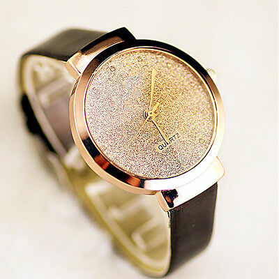 Fashion Leather Ladies Watch Simple Small Stars Sands Casual Quartz  Women Watch