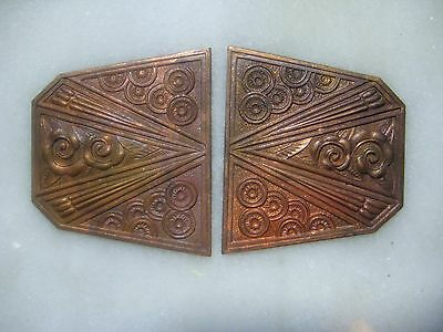 Vintage French Art Deco Floral Medallions, Buckle Toppers, Decorative Arts, 70mm