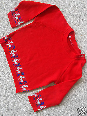 Baby Boys / Girls 1960s Vintage Jumper Size 1 fit 12 mth Ski Sweater Top Acrylic