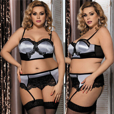 3PC Plus Size Women's Satin Underwear Bra Garter Belts G-string Lingerie Set 5X