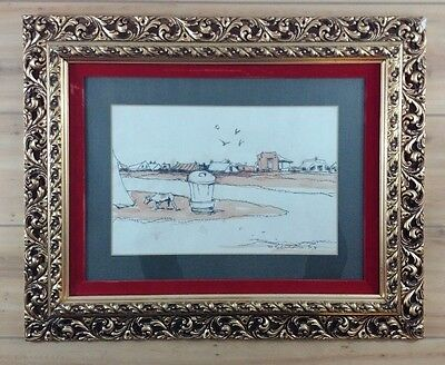 1973 Watercolor Painting Outsider In Antique Gold Gilt Carved Wood Frame (Italy)