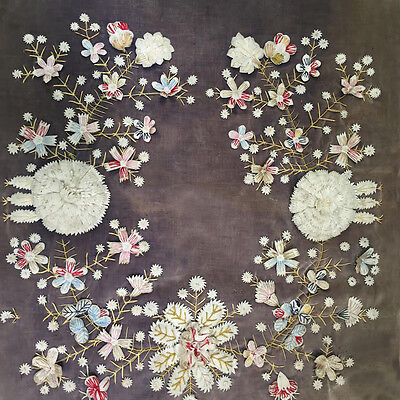 Vintage Antique Textile Panel sampler 1920s velvet, felt, embroidered flowers