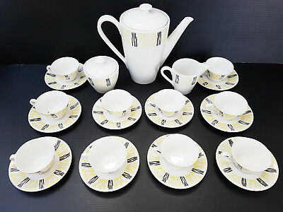 Service Coffee 10 Cups 1950 Vintage Years 50 Ceramic Porcelain 50S 50's