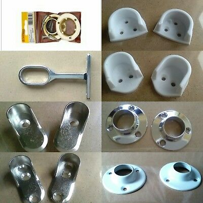 PAIR Rail End Supports Brackets OVAL or ROUND Wardrobe Rails Poles ROD SOCKETS