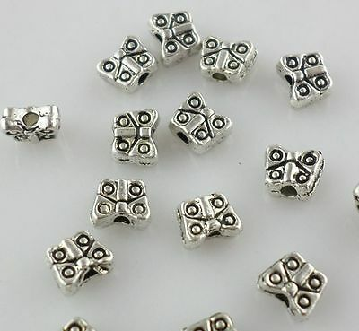 40//80pcs Tibetan Silver 5.5x7mm Charm Butterfly Spacer Beads Jewelry Making