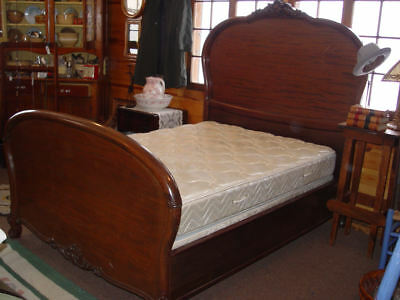 French Louis Xv Style Rosewood Double Bed ~ Beautiful Carved Acanthus leaf Detai