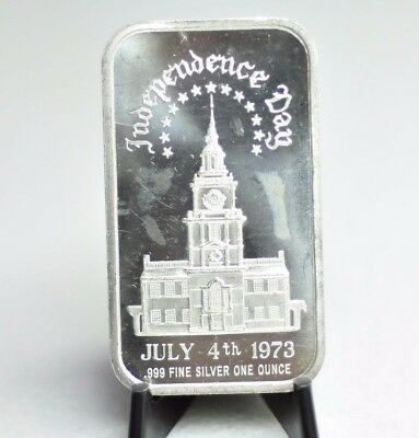 "Independence Day July 4th, 1973 1 Troy oz .999 Fine Silver Bar ""Rare"" [10DU]"