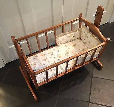 Vintage ORIGINAL KOLCRAFT 1950's Wood Cradle Crib - Mattress + Bumper Pad