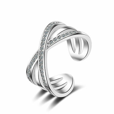 Ladies Solid 925 Sterling Silver Sparkling AAA CZ Cross Band Ring Size 6