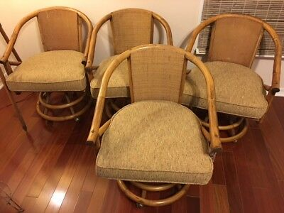 Four  Vintage Hollywood Regency Mid Century Bamboo Barrel Swivel Arm Chairs
