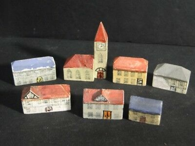 1800s Victorian Miniature Wood HOUSES & Church VILLAGE Hand Painted Doors etc