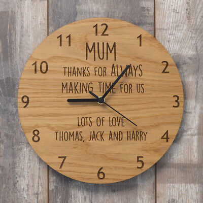 Thank You For Always Making Time For Us Personalised Wooden Clock For Mothers Da