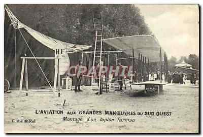 CPA Avion Aviation des Grandes Manoeuvres du Sud Ouest Montage d'un biplan Farma