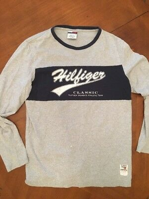 Tommy Hilfiger Spell Out Vintage 1990s Womens Long Sleeve T Shirt Large Tee USA