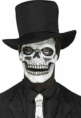 Foam Latex Skeleton Face Prosthetic, White, 2 Pieces With Movable Jaw & Adhesive