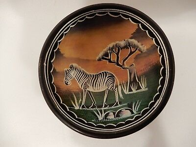 African Kisii Tribesman Dish Bowl with Zebra from Kenya 4 Inch