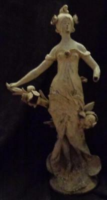 Antique Spelter Figural Statue - GORGEOUS ART NOUVEAU ca. 1900 - GREAT PIECE
