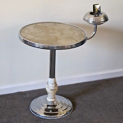 Art Deco Smokers Table & Rotating Ashtray Arm, Chrome, Steel, Duralite c.1930s