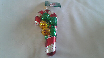 Old World Christmas Ornament by Merck Family JINGLE BELL CANDY CANE 2003