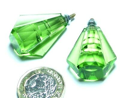 Pair Vintage Green Faceted/cut Glass Art Deco Chest Drawers/cupboard Small Knobs