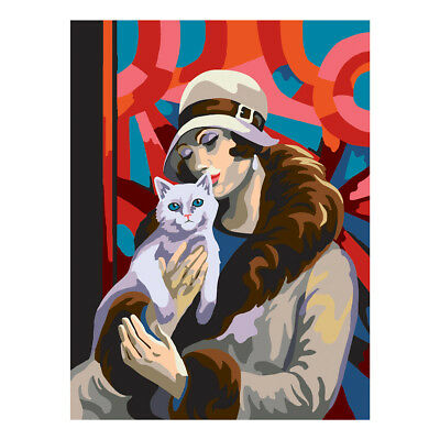 COLLECTION D'ART   Printed Canvas: Deco Lady with Cat  CD10477