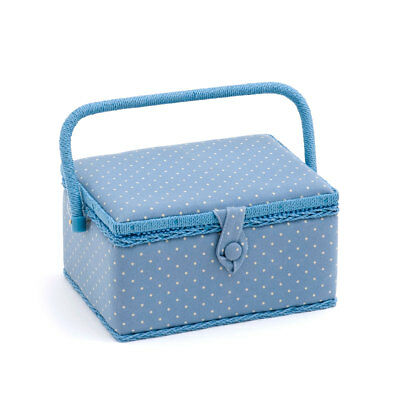 HobbyGift MRM266 | Mini Cornflower Polka Dot Medium Sewing Box | 18.5x26x15cm