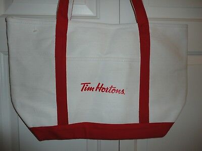 Tim Hortons Horton's TOTE BAG Canvas Red & Beige New RARE