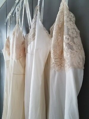 Vintage Slips (3) - White & Ivory with Lace Hem and Adjustable Straps