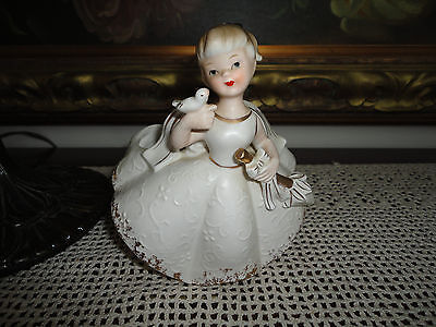 Vintage RUBENS Made in Japan Girl with Bird and Umbrella Figurine 473M