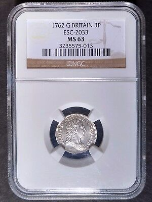 1762 G. Britain Silver 3 Pence NGC MS63 Rare Uncirculated American Colonial Era