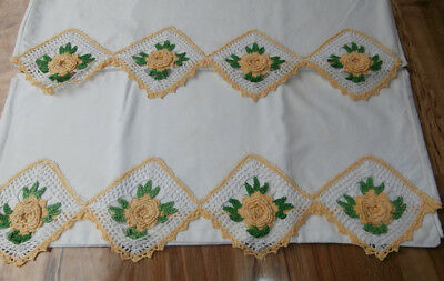 Vintage Pretty Pair Of Floral Crocheted PILLOWCASES, Yellow Roses
