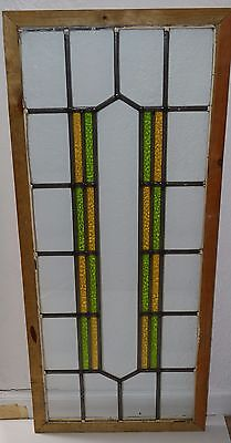 Antique Leaded English Stained Glass Huge Window Wood Frame England Old House 60