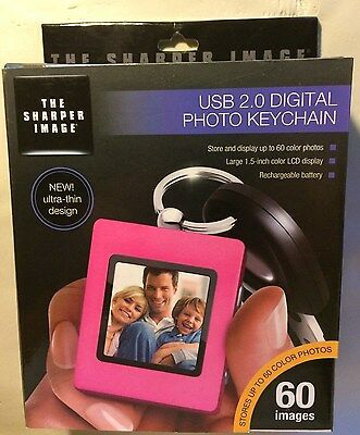 Digital Photo Album Keychain Usb Rechargeable! The Sharper Image Pink New