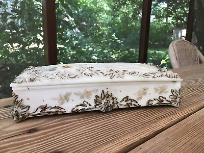 Victorian White Bisque Glass Hand Painted  Gold & WhIte Floral Glove Box ..,