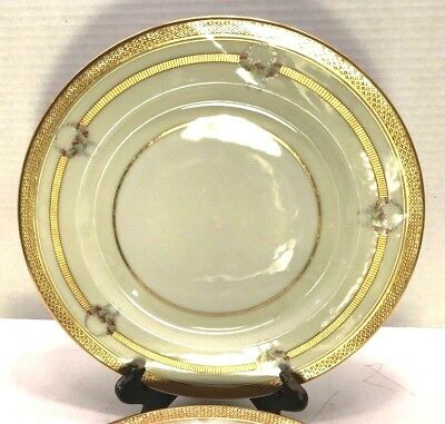 "ATQ W M Guerin & Co France Limoges Set of 4 Serving Plate 11"" Gold Cream White"