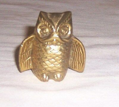 ~~ Brass Owl ~~  Old Brass Miniature Owl With Wings Spread