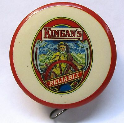 early KINGAN'S RELIABLE HAMS & BACON advertising celluloid tape measure *