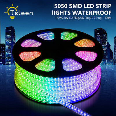 110/220V 5050 LED Strip IP67 Waterproof Rope Lights Purple Blue RGB Colors A563