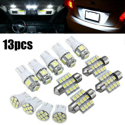 13x Car Interior White LED Light Package 31mm T10 Festoon Map Dome License Plate