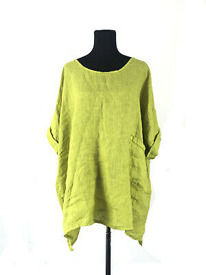 Di Moda Italian made 100% Pure Linen Plus-Size Lime Short Dress