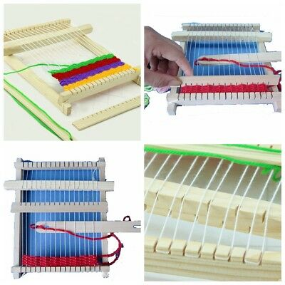 Wooden Weaving Toy Traditional Loom with Accessories Childrens Craft Box Hot